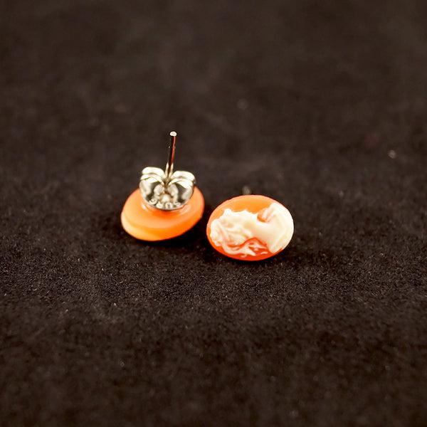 Hullabaloo Orange Cameo Dot Earrings for sale at Cats Like Us - 2