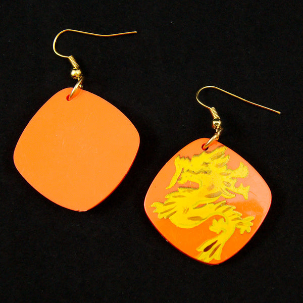 Hullabaloo Orange Dragon Earrings for sale at Cats Like Us - 2