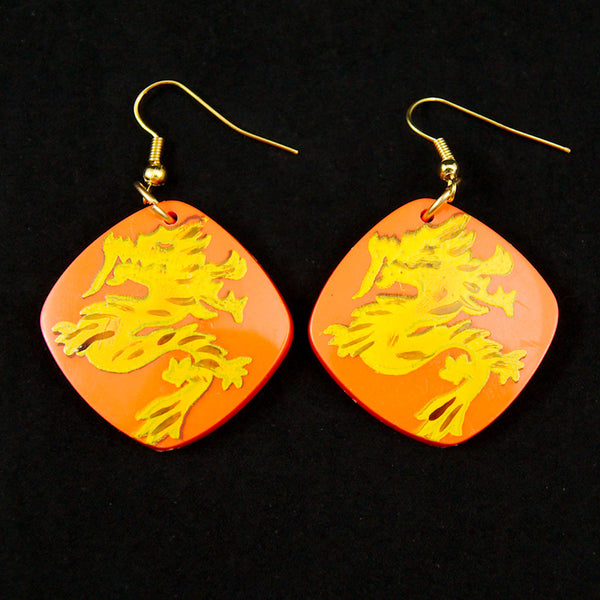 Hullabaloo Orange Dragon Earrings for sale at Cats Like Us - 1
