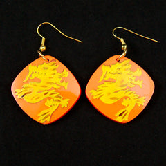 Orange Dragon Earrings
