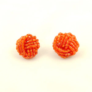 Orange Glass Bead Knot Earrings