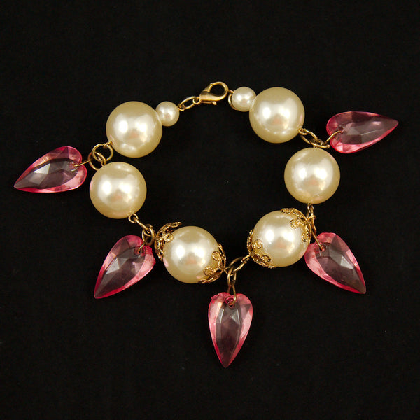 Hullabaloo Pink Chandlier Charm Bracelet for sale at Cats Like Us - 1