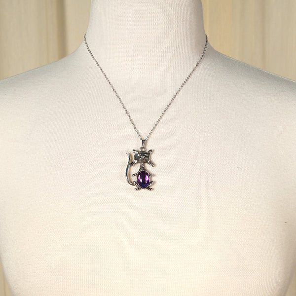 Hullabaloo Purple Cool Cat Necklace for sale at Cats Like Us - 2