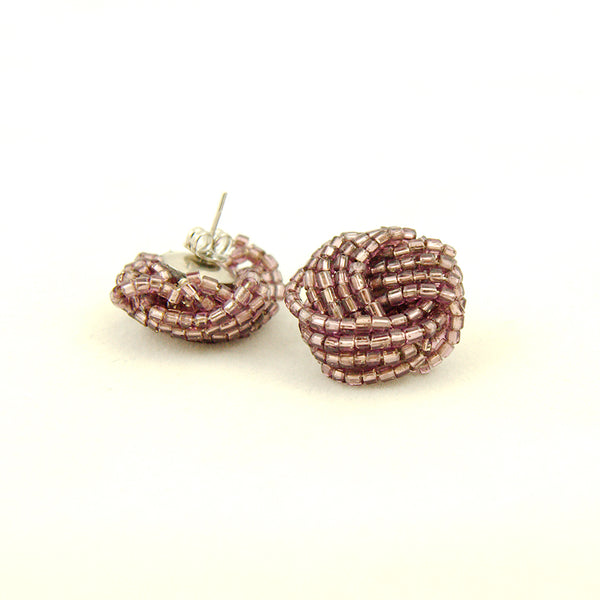 Purple Glass Bead Knot Earrings by Hullabaloo : Cats Like Us