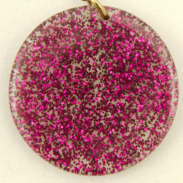 Raspberry Glitter Disc Earrings by Hullabaloo : Cats Like Us