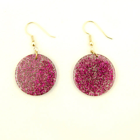 Raspberry Glitter Disc Earrings