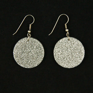 Silver Glitter Disc Earrings