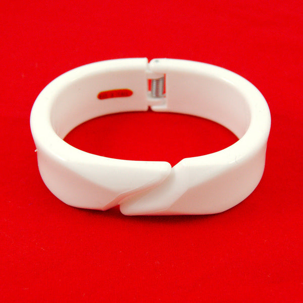 White Blackjack Hinge Bangle