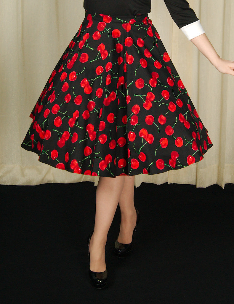Ixia Black Cherries Circle Skirt for sale at Cats Like Us - 1