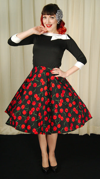 Black Cherries Circle Skirt by Ixia - Cats Like Us