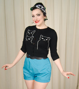 Black Cat Cropped Cardigan by Jawbreaker - Cats Like Us