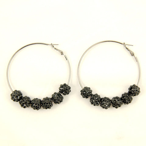 Black Bead Hoop Earrings by JS World Trading - Cats Like Us