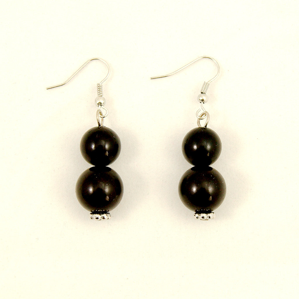 Black Double Bead Earrings - Cats Like Us