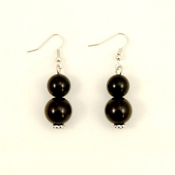 Black Double Bead Earrings by JS World Trading : Cats Like Us