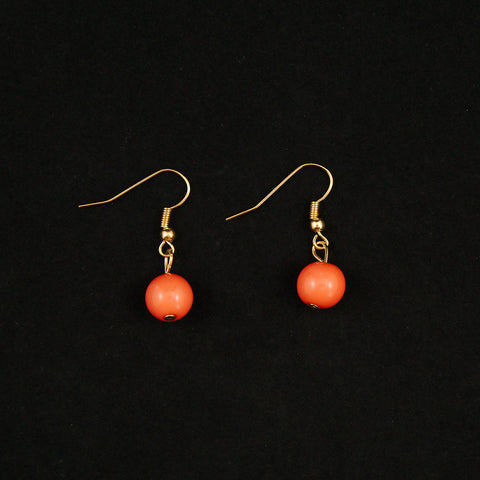 Coral Dangle Bead Earrings - Cats Like Us