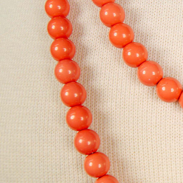 Long Coral Bead Necklace - Cats Like Us