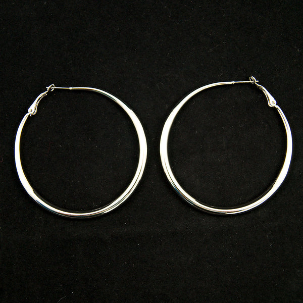 JS World Trading Oval Silver Hoop Earrings for sale at Cats Like Us - 2