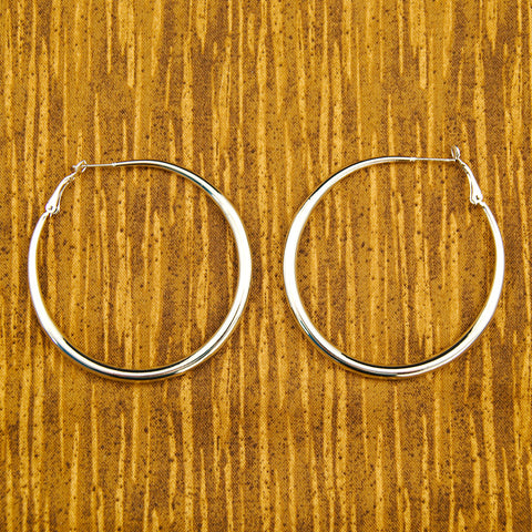 Oval Silver Hoop Earrings - Cats Like Us