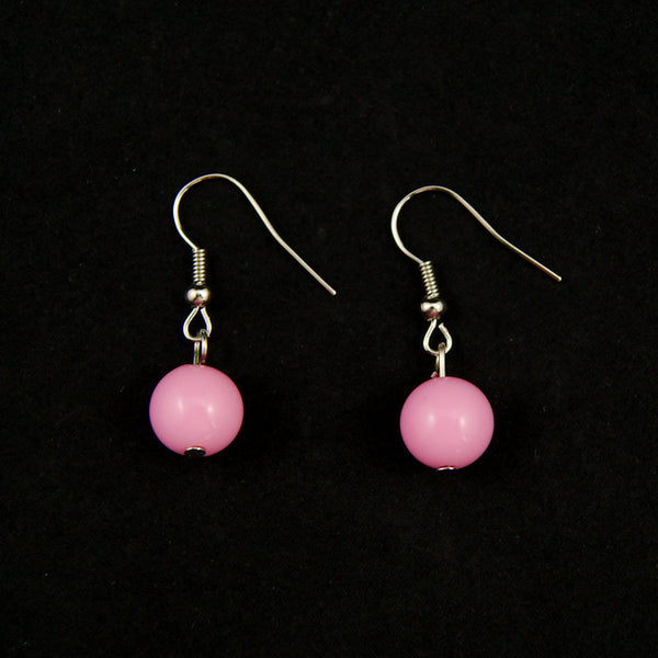 Pink Dangle Bead Earrings