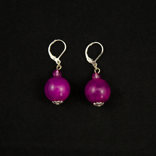 Purple Dangle Bead Earrings by JS World Trading : Cats Like Us