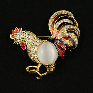 JS World Trading Rockin Rooster Brooch Pin for sale at Cats Like Us - 1