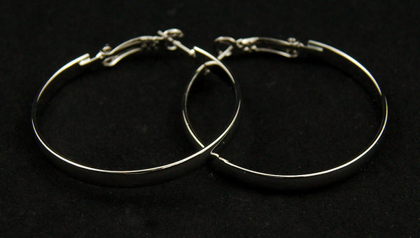 JS World Trading Silver Hoop Earrings for sale at Cats Like Us - 4