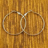 JS World Trading Silver Hoop Earrings for sale at Cats Like Us - 1