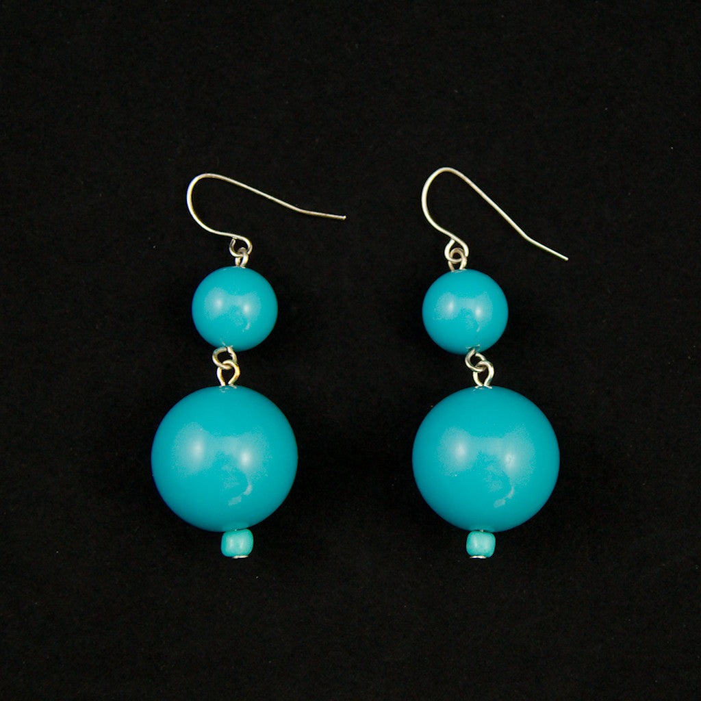 Sky Blue Double Bead Earrings by JS World Trading : Cats Like Us
