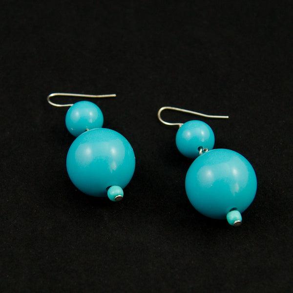 JS World Trading Sky Blue Double Bead Earrings for sale at Cats Like Us - 2