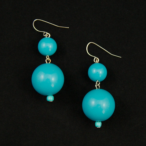 JS World Trading Sky Blue Double Bead Earrings for sale at Cats Like Us - 3