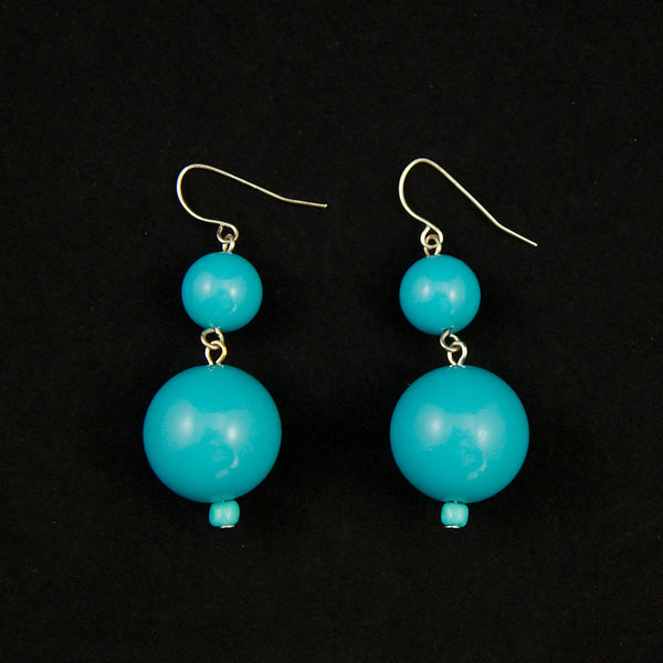 JS World Trading Sky Blue Double Bead Earrings for sale at Cats Like Us - 1