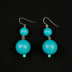 Sky Blue Double Bead Earrings