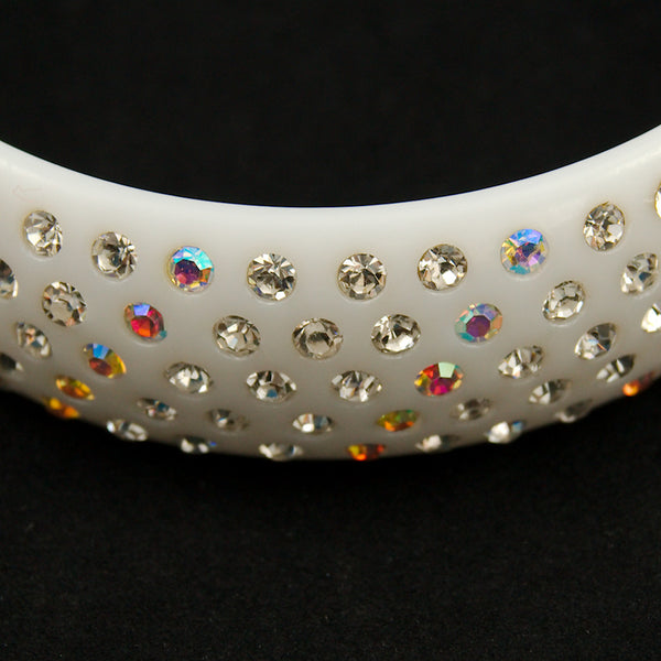 JS World Trading White Rhinestone Retro Bangle for sale at Cats Like Us - 2