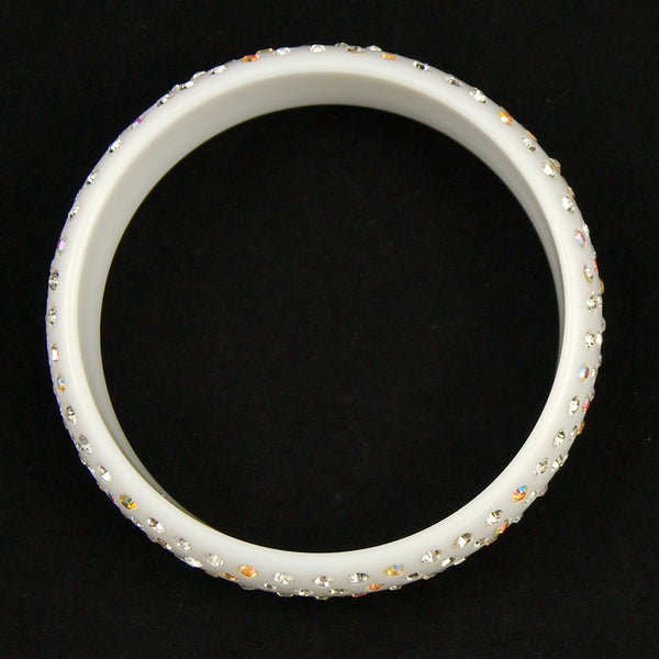 JS World Trading White Rhinestone Retro Bangle for sale at Cats Like Us - 3