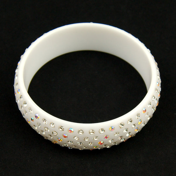 White Rhinestone Retro Bangle
