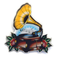 Gramophone Music Brooch