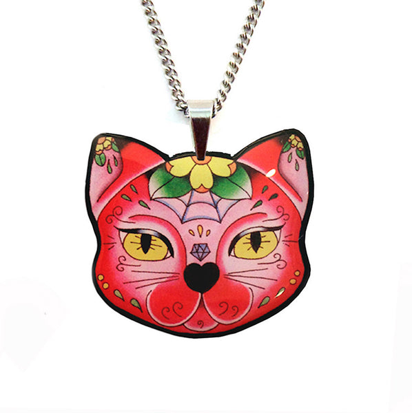 Muerte Kitty Pendant Necklace