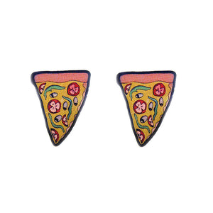 Pizza Stud Earrings by Jubly-Umph : Cats Like Us