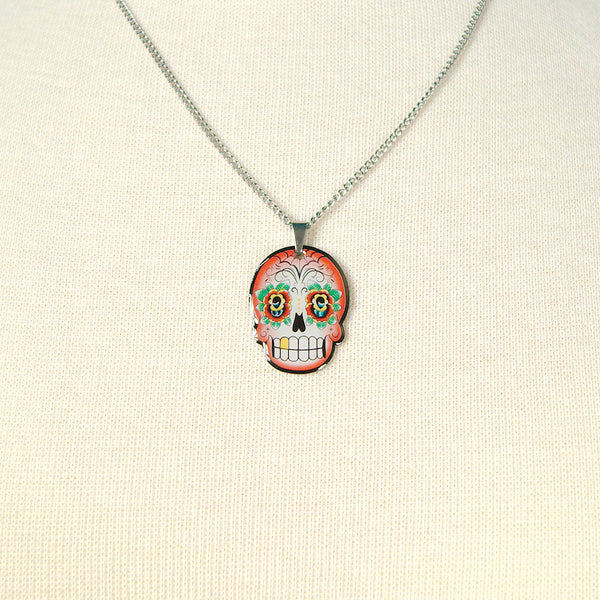 Red Skull Mini Pendant Necklace - Cats Like Us