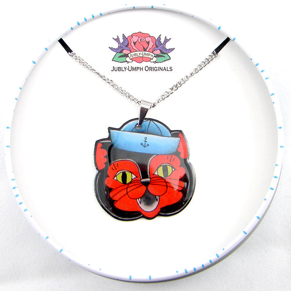 Jubly-Umph Sailor Cat Necklace for sale at Cats Like Us - 2