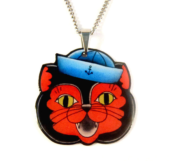 Jubly-Umph Sailor Cat Necklace for sale at Cats Like Us - 1