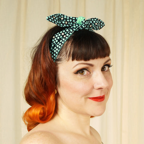 Aqua Polka Dot Hair Tie - Cats Like Us