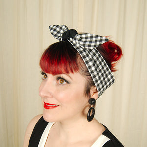 B & W Gingham Hair Tie - Cats Like Us