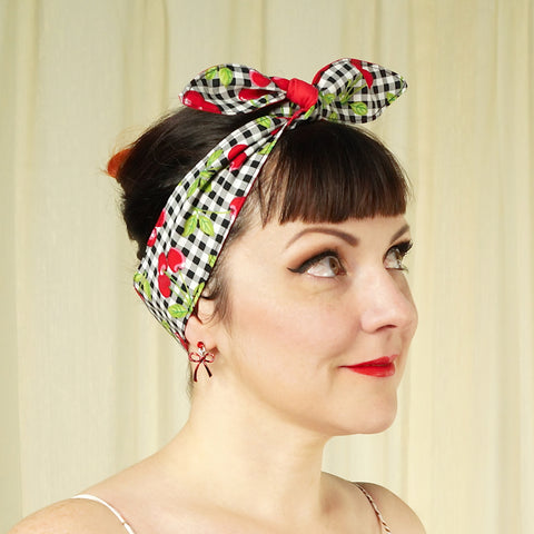 Gingham Cherries Hair Tie - Cats Like Us