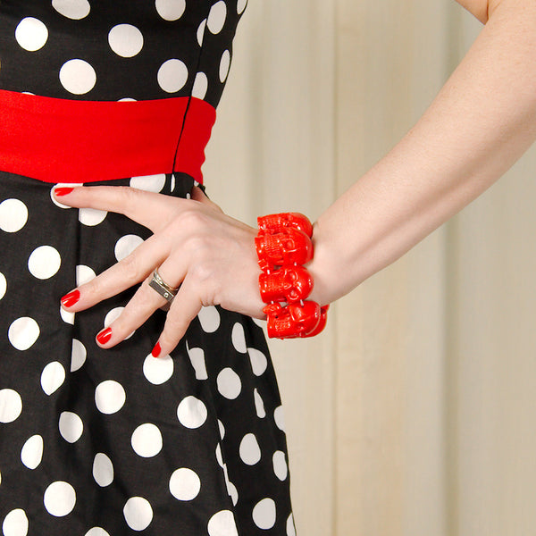 Kreepsville 666 Red Skull Bracelet for sale at Cats Like Us - 2