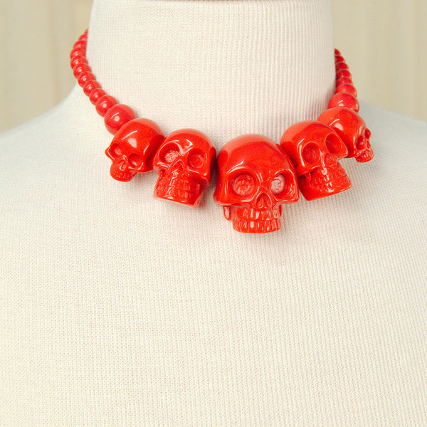 Kreepsville 666 Red Skull Necklace for sale at Cats Like Us - 3