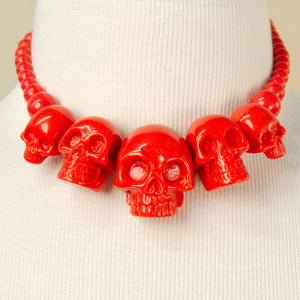 Kreepsville 666 Red Skull Necklace for sale at Cats Like Us - 1