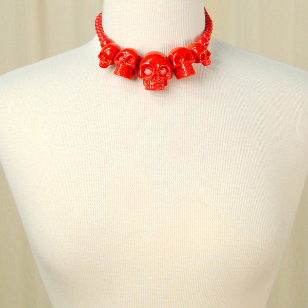 Kreepsville 666 Red Skull Necklace for sale at Cats Like Us - 2