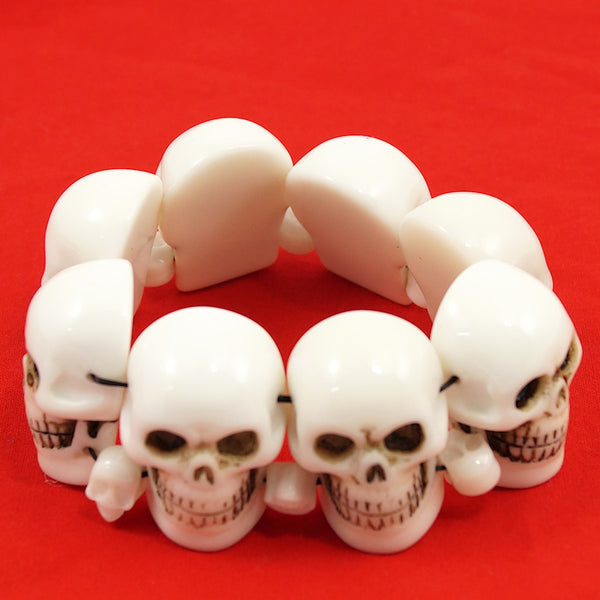 Kreepsville 666 White Skull Bracelet for sale at Cats Like Us - 1