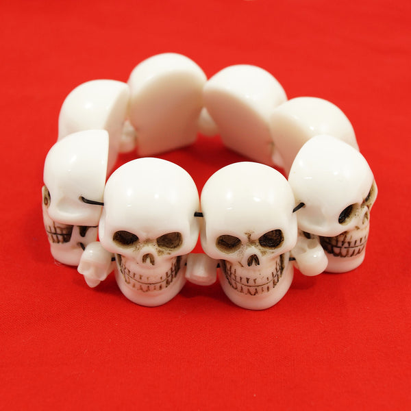Kreepsville 666 White Skull Bracelet for sale at Cats Like Us - 3